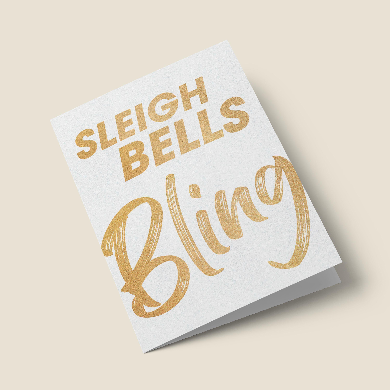 'Sleigh Bells Bling' Funny Christmas Card #howtoapplybling