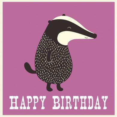 Mr Badger Birthday Card Badger Illustration Badger Birthday Cards