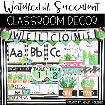 Watercolor Succulent Cactus Classroom Decor Classroom Decor