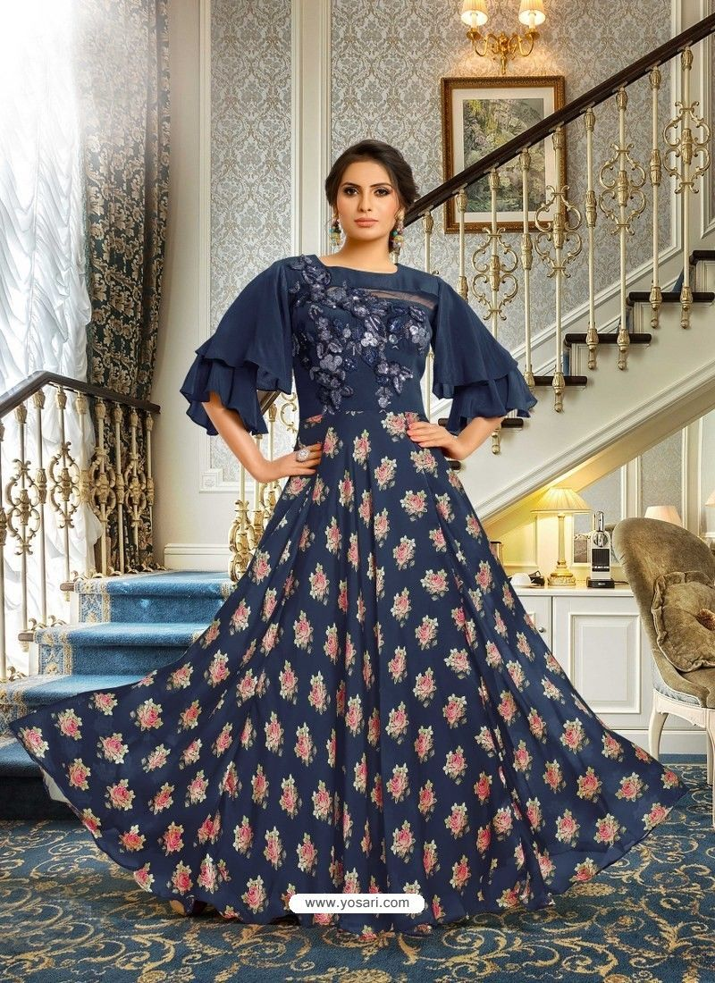13a0c21e27f Navy Blue Satin Silk Embroidered Designer Gown in 2019