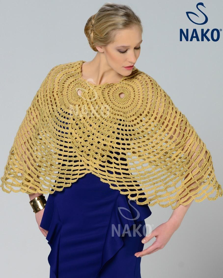 Capa Doble Mostaza Patron - Patrones Crochet | poncho | Pinterest ...