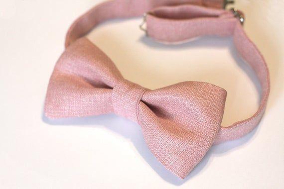Dusty Rose Bow Tie - Linen Silk Bow Tie - Dusty Pink, Dusty Rose Wedding - Groomsmen ties #dustyrosewedding