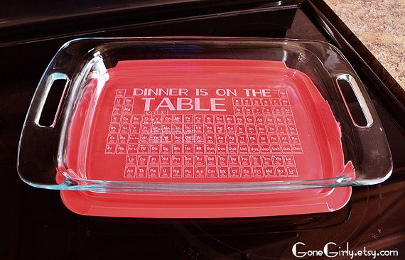 The periodic table your dinner is on it by gonegirly on etsy valentines gifts to melt her geeky heart periodic table pyrex dish urtaz Gallery