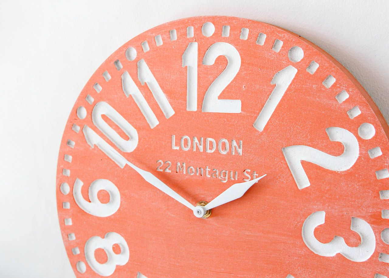 London Bedroom Accessories Faux Vintage Clock In Retro London Coral Handmade Birch Wood