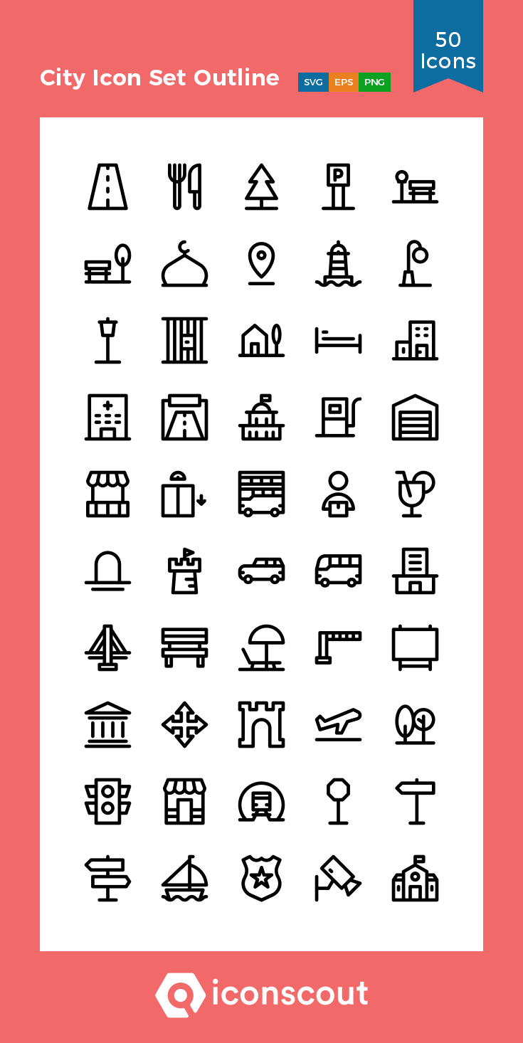Download City Icon Set Outline Icon Pack Available In Svg Png Eps Ai Icon Fonts City Icon Icon Set Location Icon