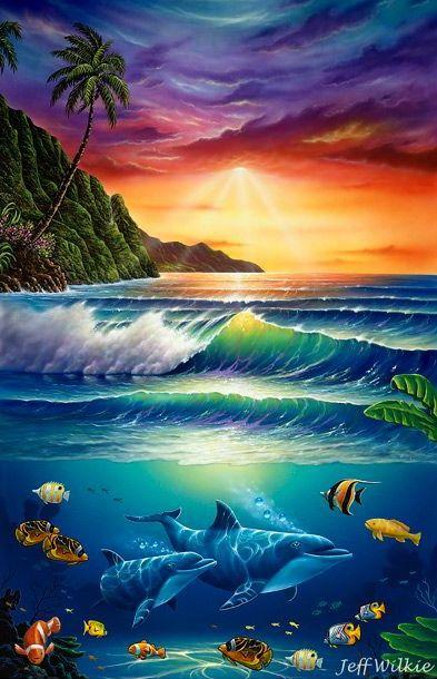 Pin By Aloha Latitudes On Hawaii Art Underwater Painting Beautiful Landscapes Ocean Art
