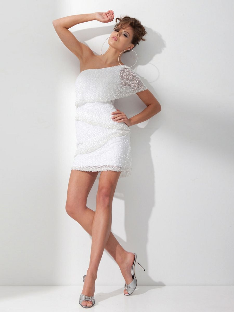 White sequined chiffon asymmetric neckline above knee length