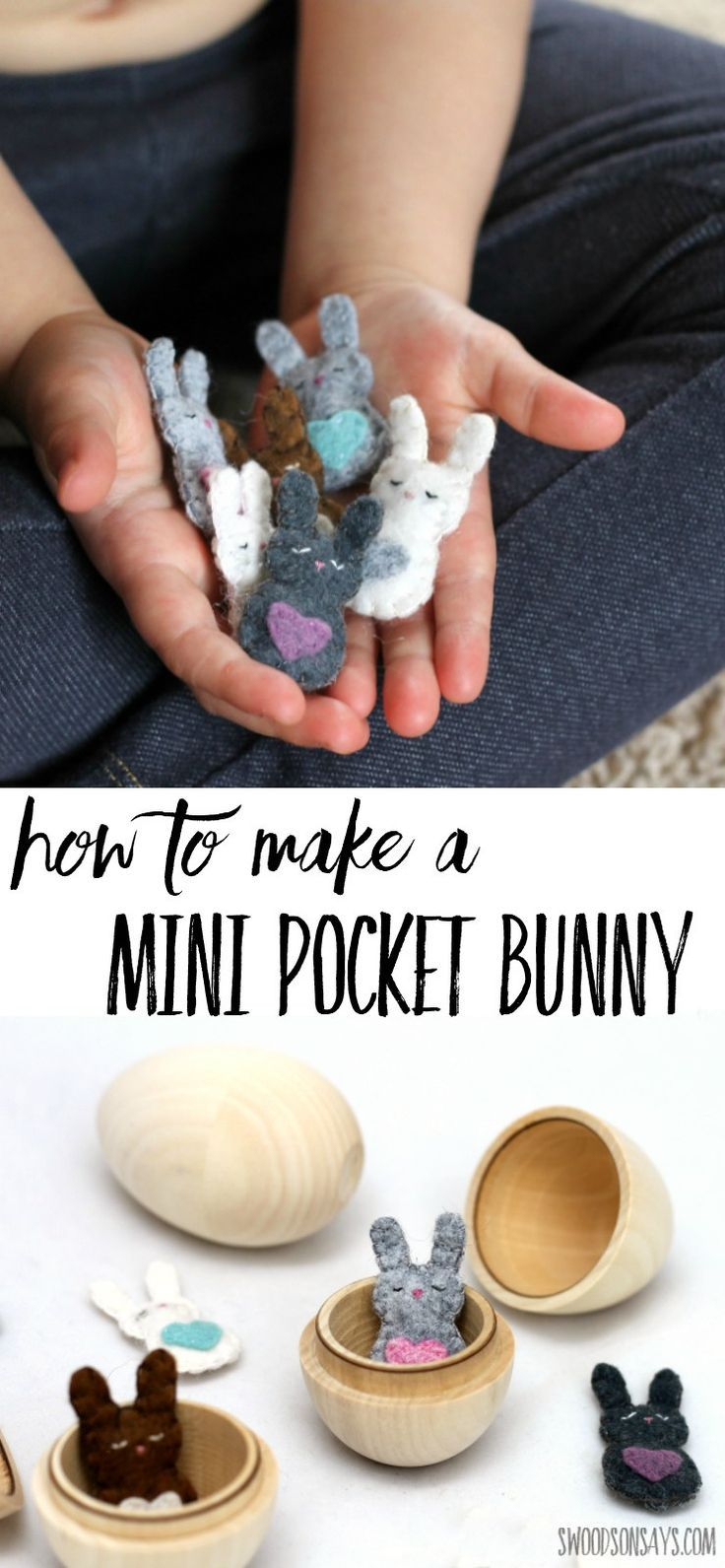 Free felt bunny sewing pattern alert! Hand sewn and adorable, this tiny bunny will tuck into an Easter egg or a kid's pocket. Just barely bigger than a quarter, it uses up felt scraps with hand stitching to make the sweetest thing to sew for spring. This free bunny softie is sure to be a hit with little hands. #freesewingpattern #easter