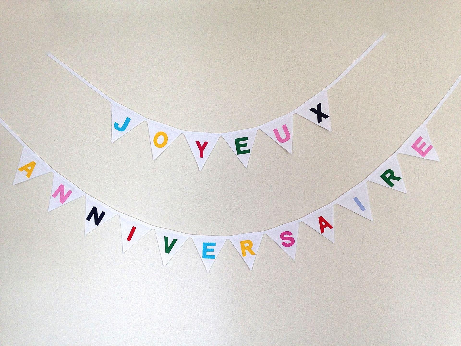 Extrêmement Guirlande Joyeux Anniversaire de mini fanions blancs et lettres de  NC51