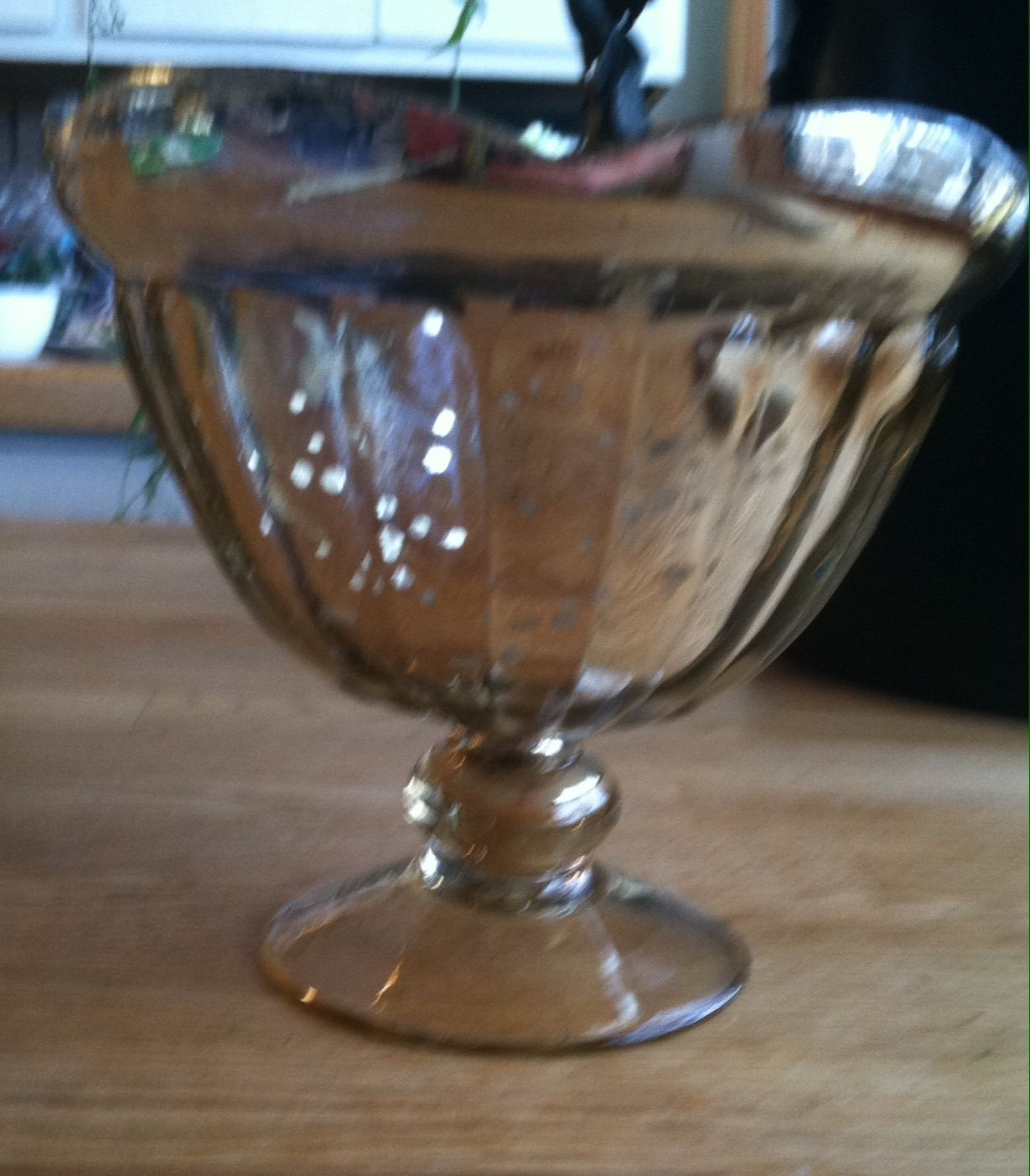 "muted gold mercury glass pedestal vase for centerpieces- 6"" tall, 5"" opening"