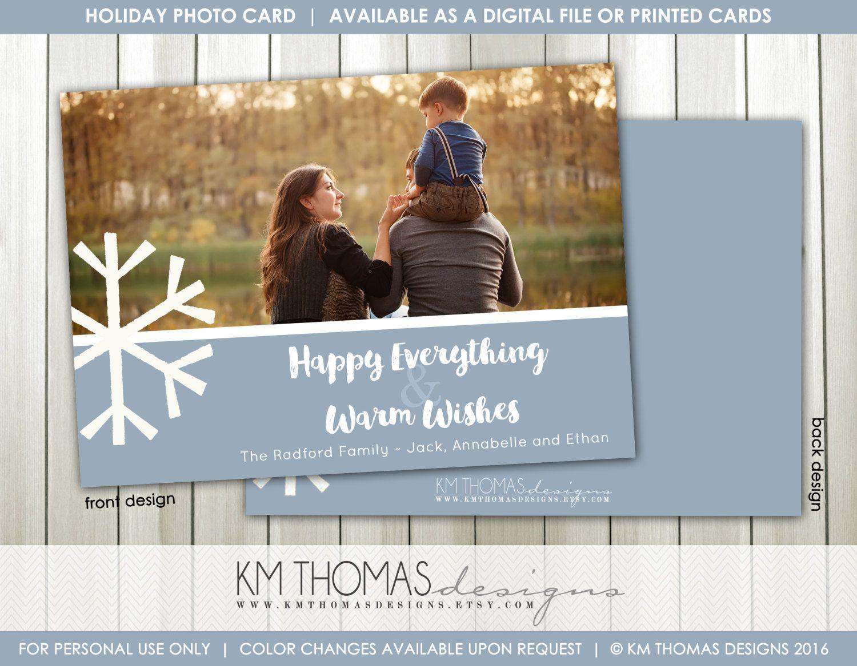 Printable Christmas Photo Card - Snowflake Holiday Photo Card - Large Snowflake…