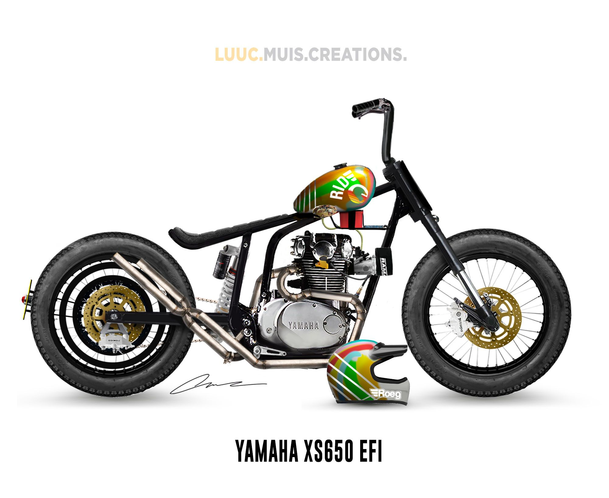 Yamaha XS650 with MT07 ignition and EFI in a bobber