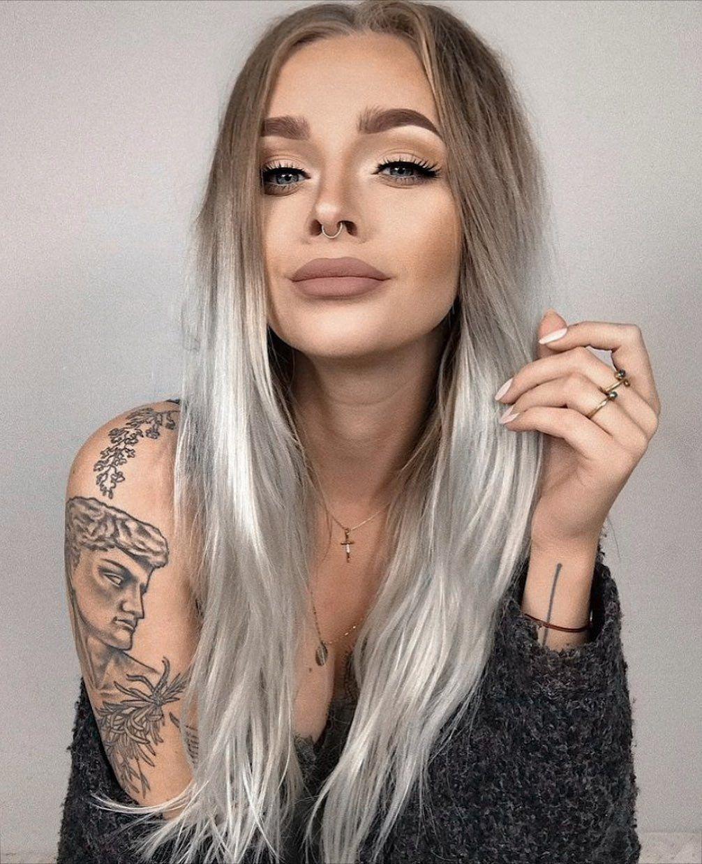 blonde hair tattoo girl