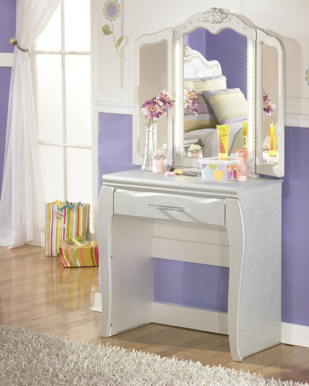 zarollina silver vanity and mirror set  furniture ashley