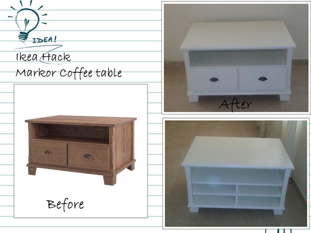 Ikea Markor Coffee Table Diy Daddy Pinterest Ikea Hack # Meuble Tv Ikea Markor