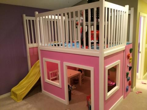 Playroom Loft Area Diy With Slide And Climbing Wall Playhouse Loft Bed Play Houses Playhouse Bed