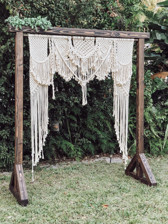 Macrame Wedding Backdrop Rental Outdoor Wedding Arch Boho Etsy In 2020 Macrame Wedding Decor Macrame Wedding Backdrop Wedding Backdrop Rentals