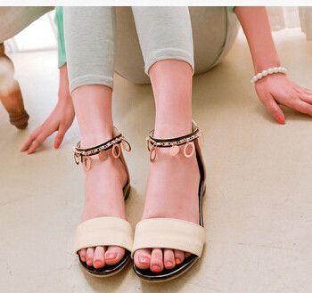 Women new fashion Summer sweet patent leather flat heels sandals open toe back zipper shoes large plus size 40-43