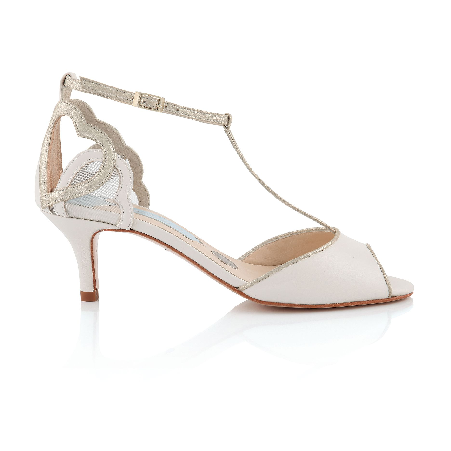 Amelia T Bar Vintage Inspired Wedding Shoe Charlotte Mills Bridal Ivory Leather Pale Gold