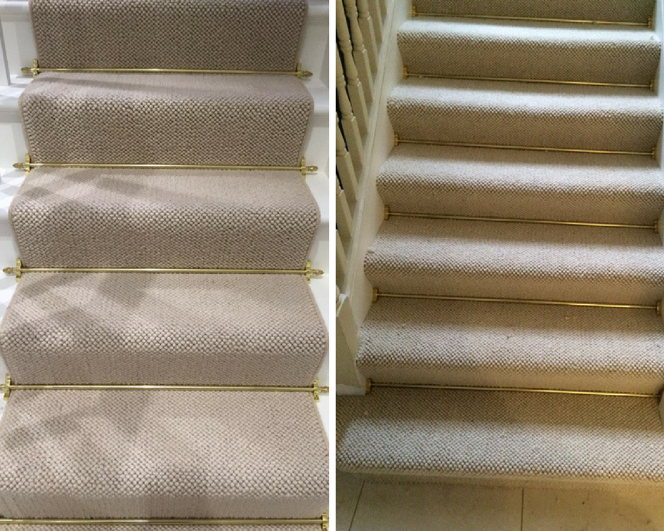 Grey Carpet With Brass Stair Rods To Stairs