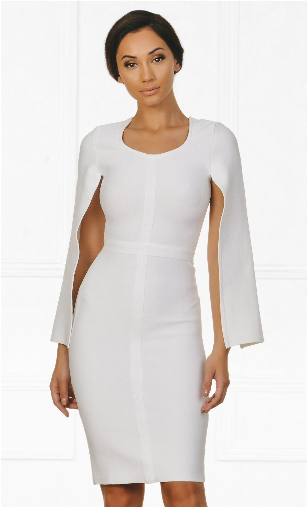 d4032c6bd28 Indie XO Midnight Scandal White Long Slit Sleeve Scoop Neck Bandage Bodycon  Cape Midi Dress