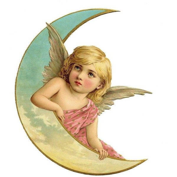 Vintage Christmas Image Amazing Angel on Moon 2 ❤ liked on Polyvore featuring home and home decor