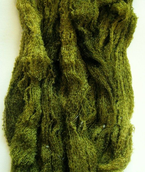 Olive   Hand Dyed Boucle Mohair Knitting Yarn от trejul на Etsy