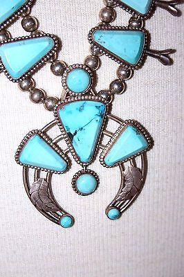 Navajo-SLEEPING-BEAUTY-TURQUOISE-STERLING-SQUASH-BLOSSOM-Kachina-NECKLACE