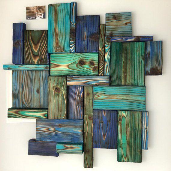 PANNELLO YAKISUGI del MARE, arte da parete, legno di riciclo, shou sugi ban, mosaico 3d, wooden wall art, reclaimed wood art