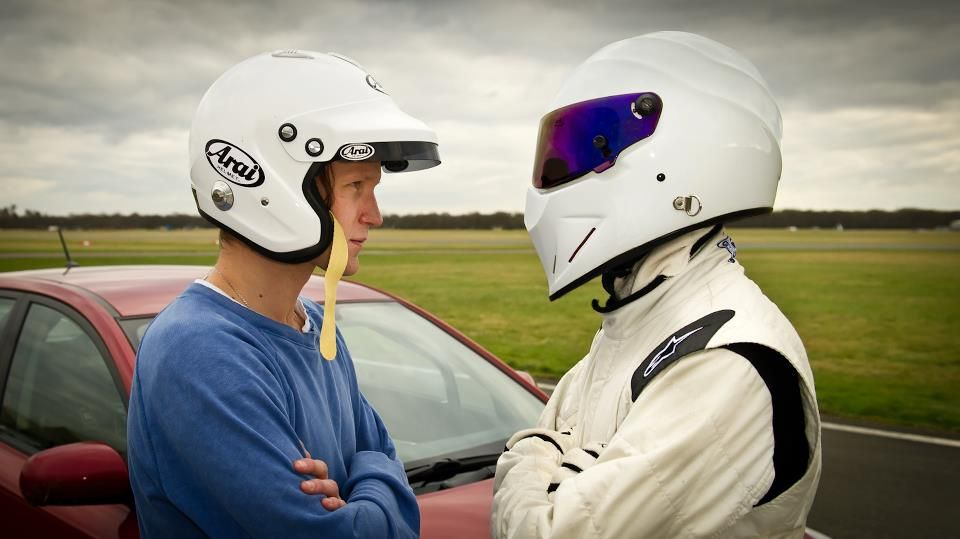 "11th Doctor, Matt Smith, meets The Stig from Top Gear; leaving the TARDIS to be the ""Star in a Reasonably-Priced Car""!"