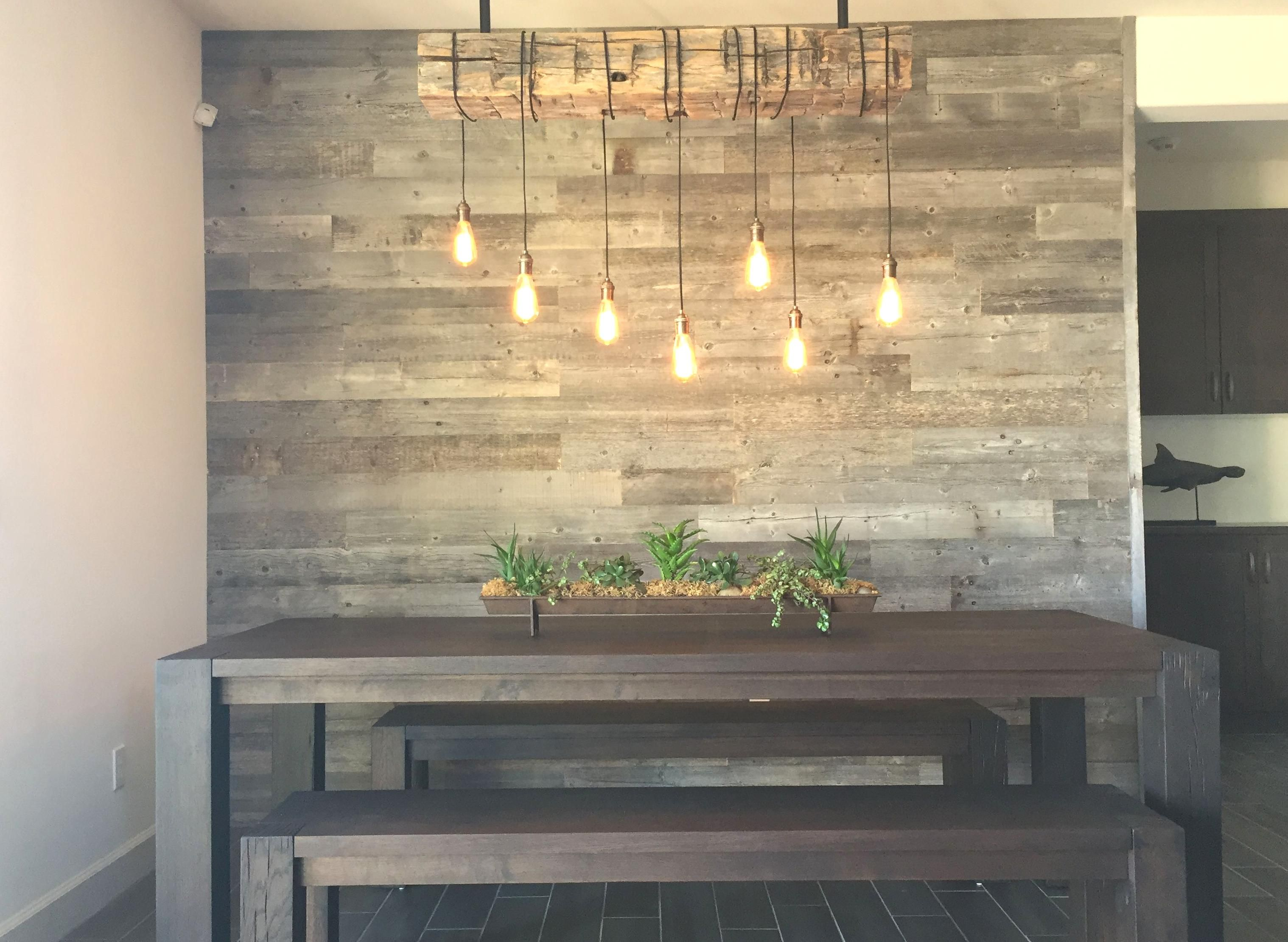 Photo of Reclaimed wood accent wall Wood from RECwood Planks in Big Sky Grey