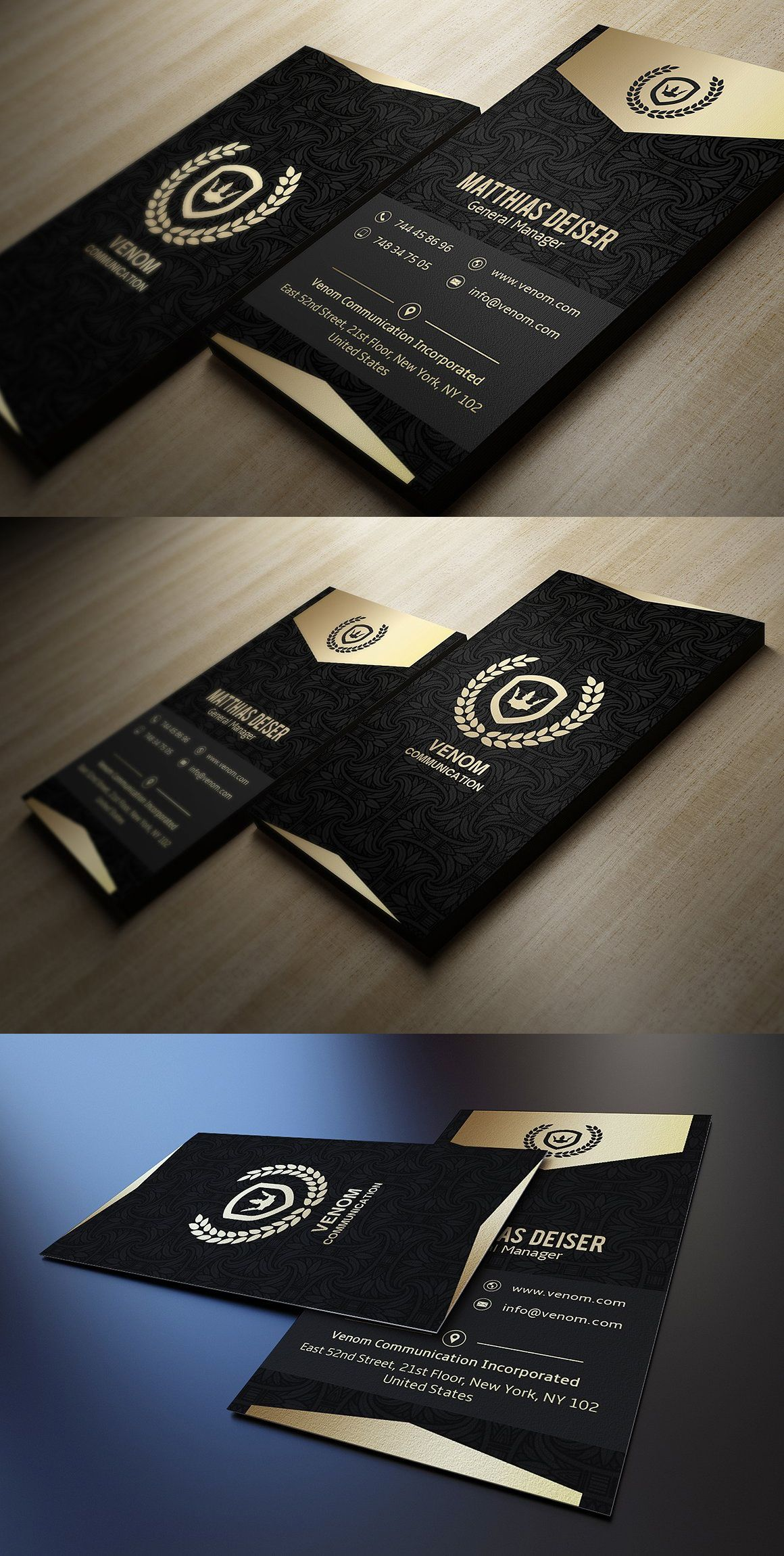 Gold And Black Business Card Business Card Logo Design Black Business Card Graphic Design Business Card