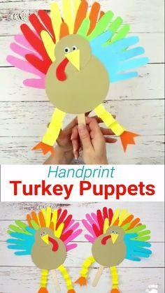 Thanksgiving Handprint Turkey Puppets