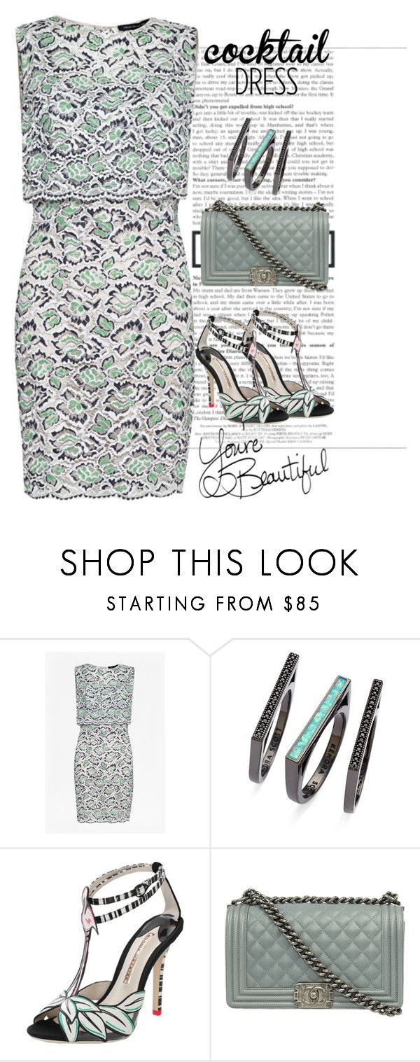"""""""cocktaildress"""" by pamela-802 ❤ liked on Polyvore featuring French Connection, Kendra Scott, Sophia Webster, LIST, Chanel and cocktaildress"""