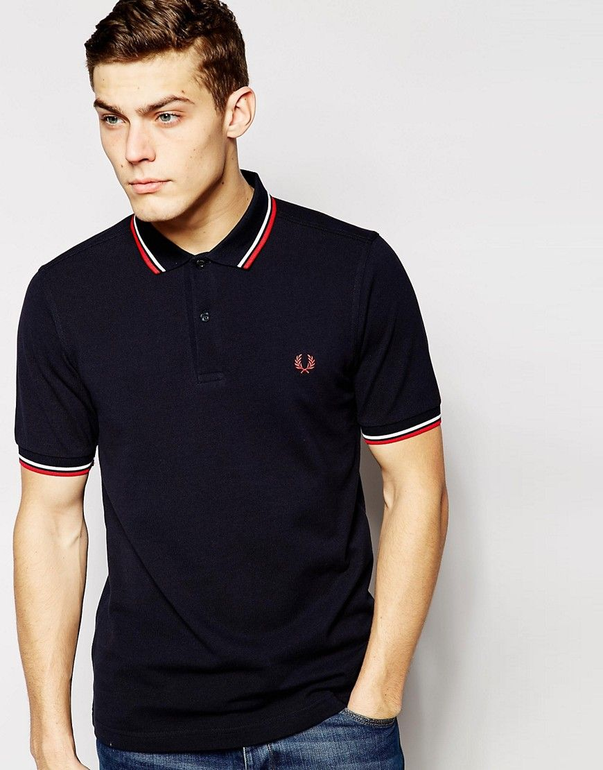 slim fit twin tipped polo shirt in navy blue fred. Black Bedroom Furniture Sets. Home Design Ideas
