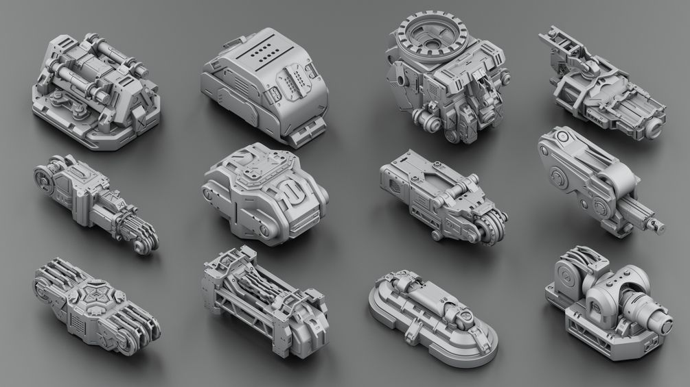 Download 300 free kitbash 3D Model part Vol 2 - 3 | 1 3D