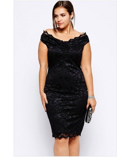 fb2f003be39 Lace Overlay V Neck Plus Size Dress - Sheinline