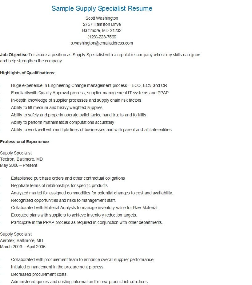 Sample Supply Specialist Resume resame Pinterest