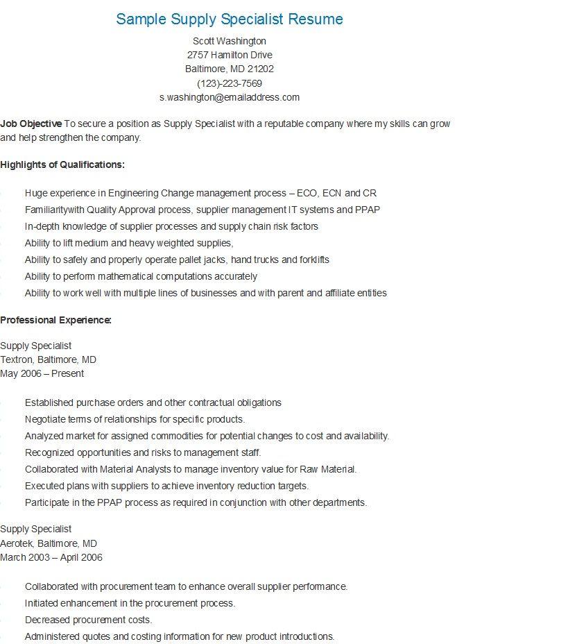 Sample Supply Specialist Resume Resume Essay Examples Sample Resume