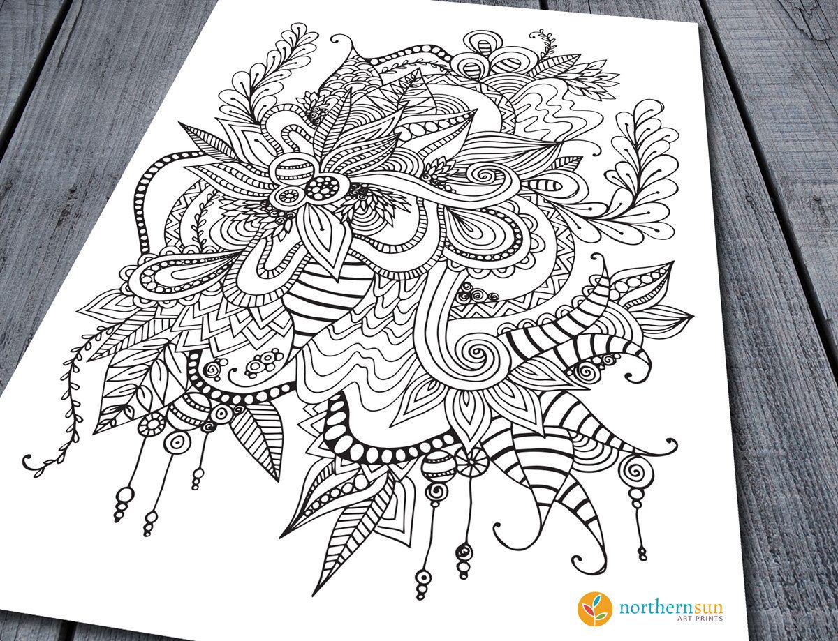 Doodle Adult Colouring Page Printable Pages Zen Art 120 GBP By NorthernSunArtPrints