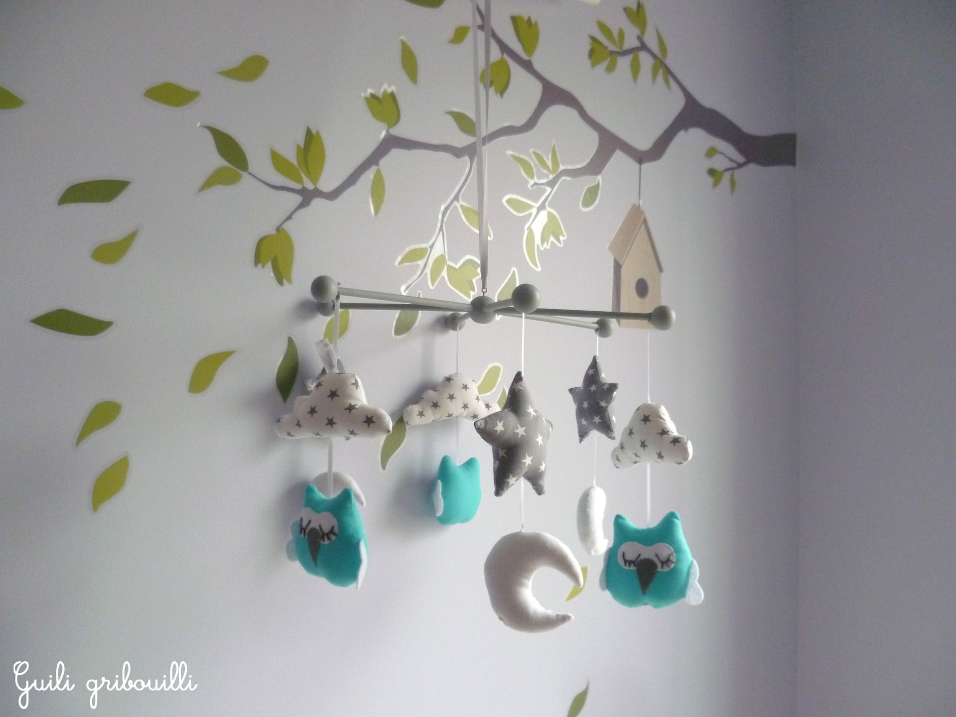 reserve mobile bébé hibou gris/bleu /blanc étoilé | déco et idées