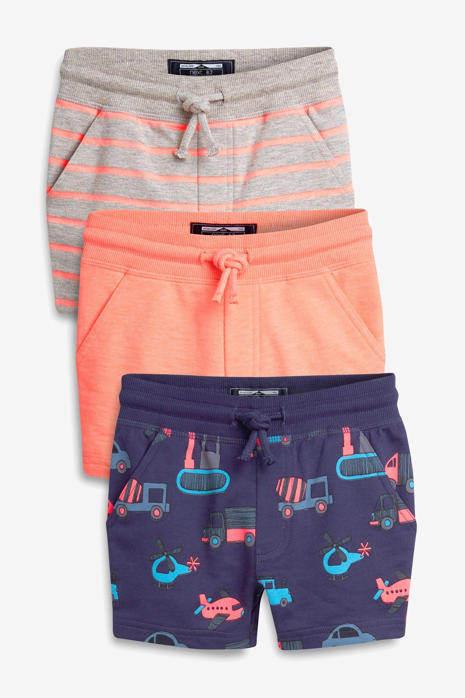 30139eb85 Boys Next Blue Fluro Digger Shorts Three Pack (3mths-7yrs) - Blue in ...