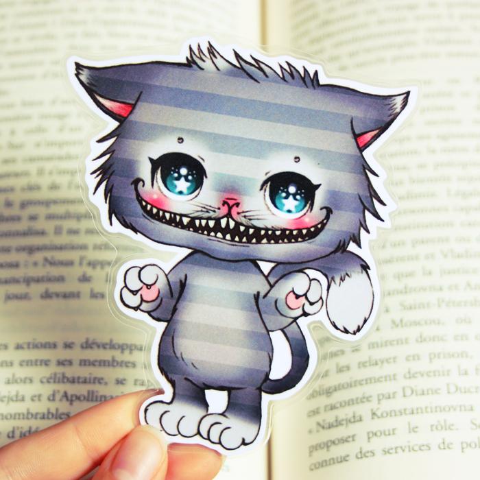 Marque pages cheshire the cat alice au pays des merveilles - Dessin de chat kawaii ...