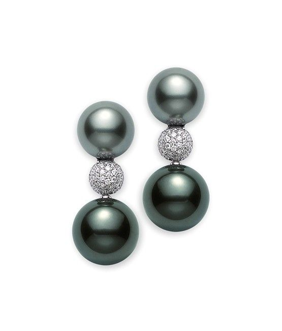 Clic Black South Sea Cultured Pearl Earrings Mikimoto America 9x11mm 9 300 3