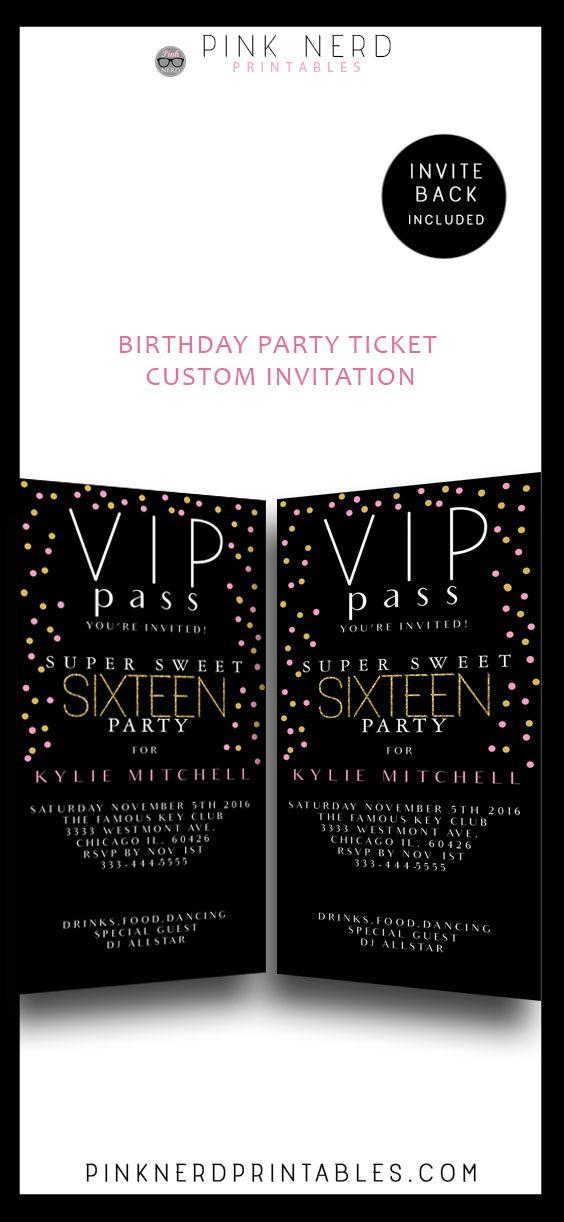 Sweet 16 birthday invitation ticket , Vip pass birthday invitation ...