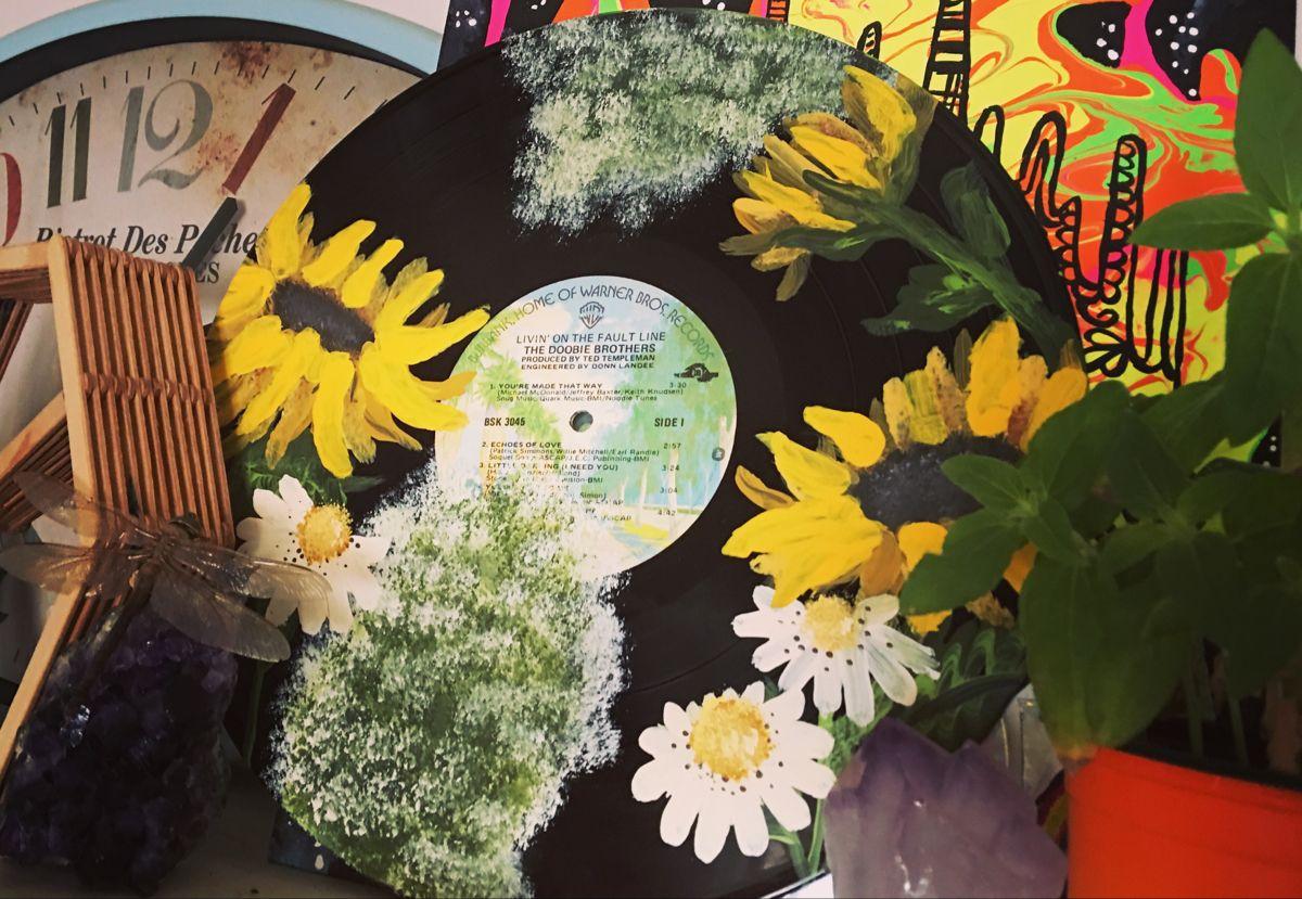Painted Sunflower Vinyl Record Baby S Breath Vinyl Vinyl Records Painting