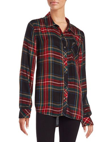 2ba10b9295 Beach Lunch Lounge Charley Plaid Flannel Shirt Women's Black Multi Lar