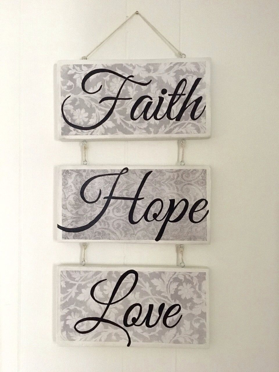 Wall Decor Sign Faith Hope Love Sign By Marywarmth On Etsy Home