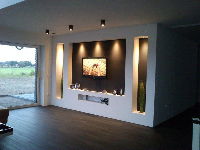 Photo of Parete attrezzata in cartongesso per un soggiorno moderno,  #attrezzata #cartongesso