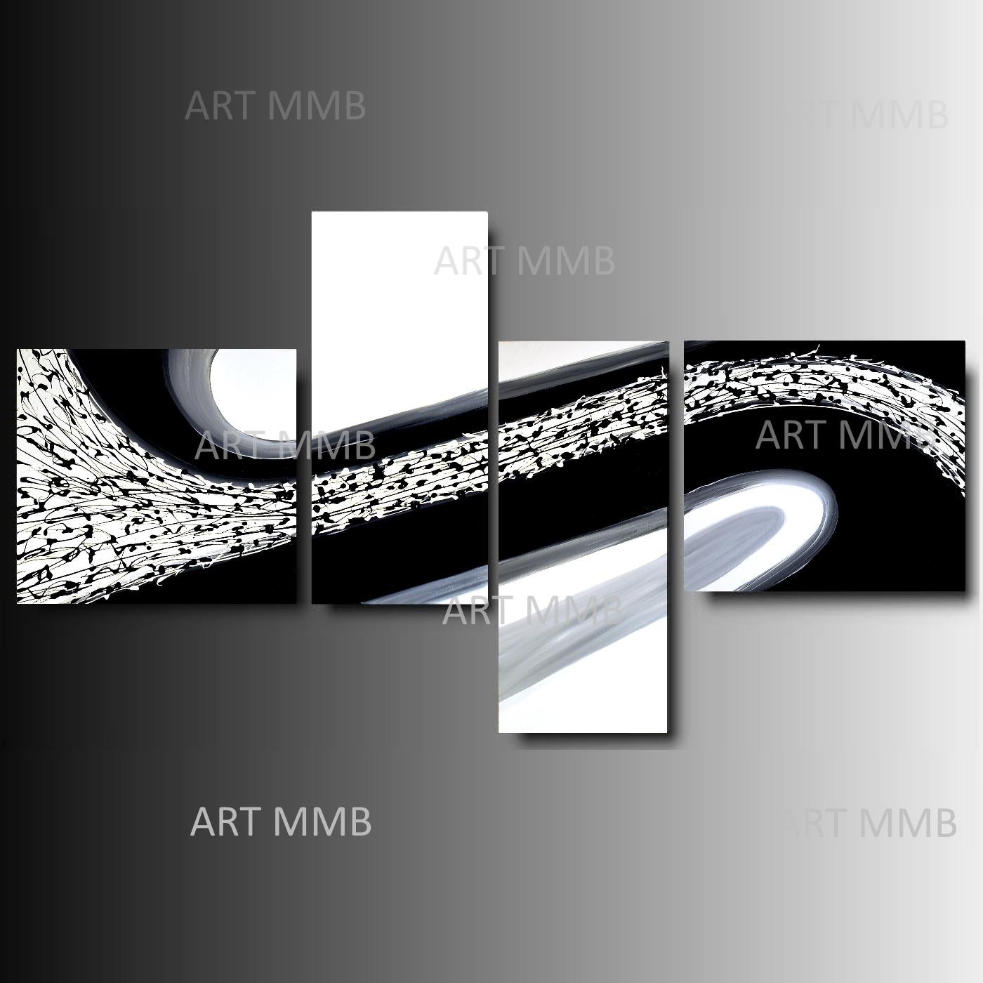 Produzione Quadri moderni astratti - 100% dipinti a mano. 4 Quadri ...